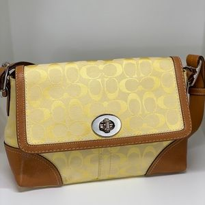 COACH Yellow Hampton Signature Shoulder Bag